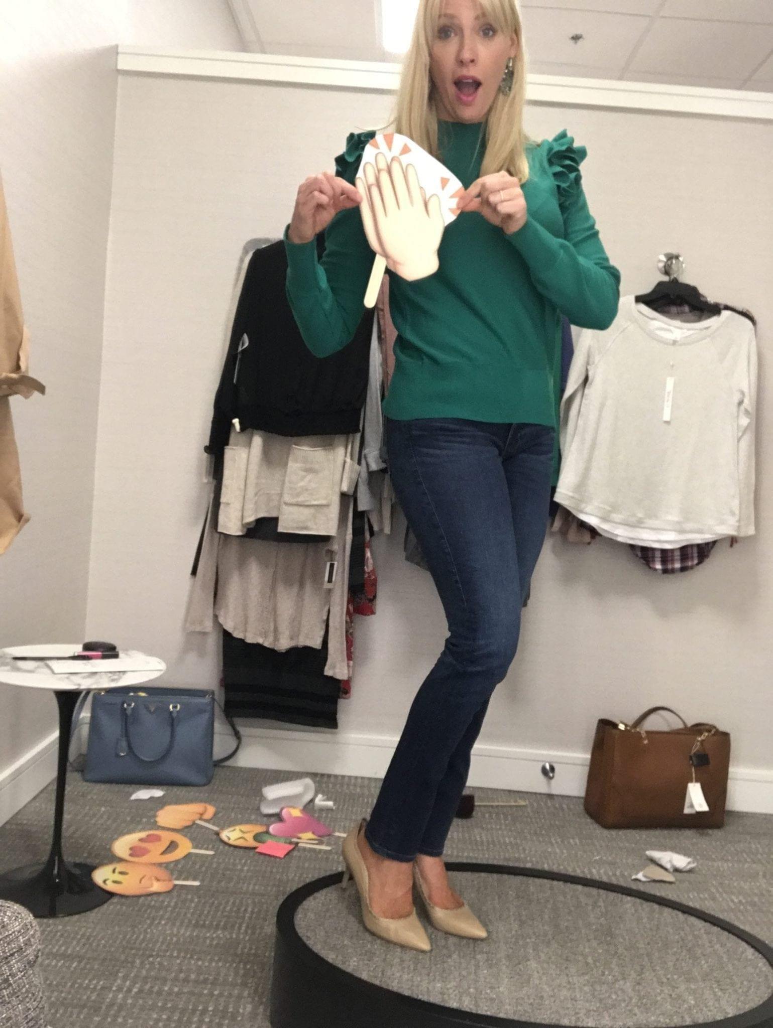 Green ruffle sweater for fall.