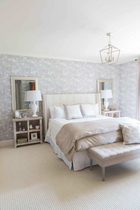 Lavender bedroom makeover from lifestyle blogger, bluegraygal. Using wallpaper in bedroom.