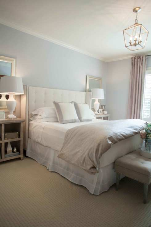 How to update a bedroom with paint. Lavender paint colors and neutral decor.