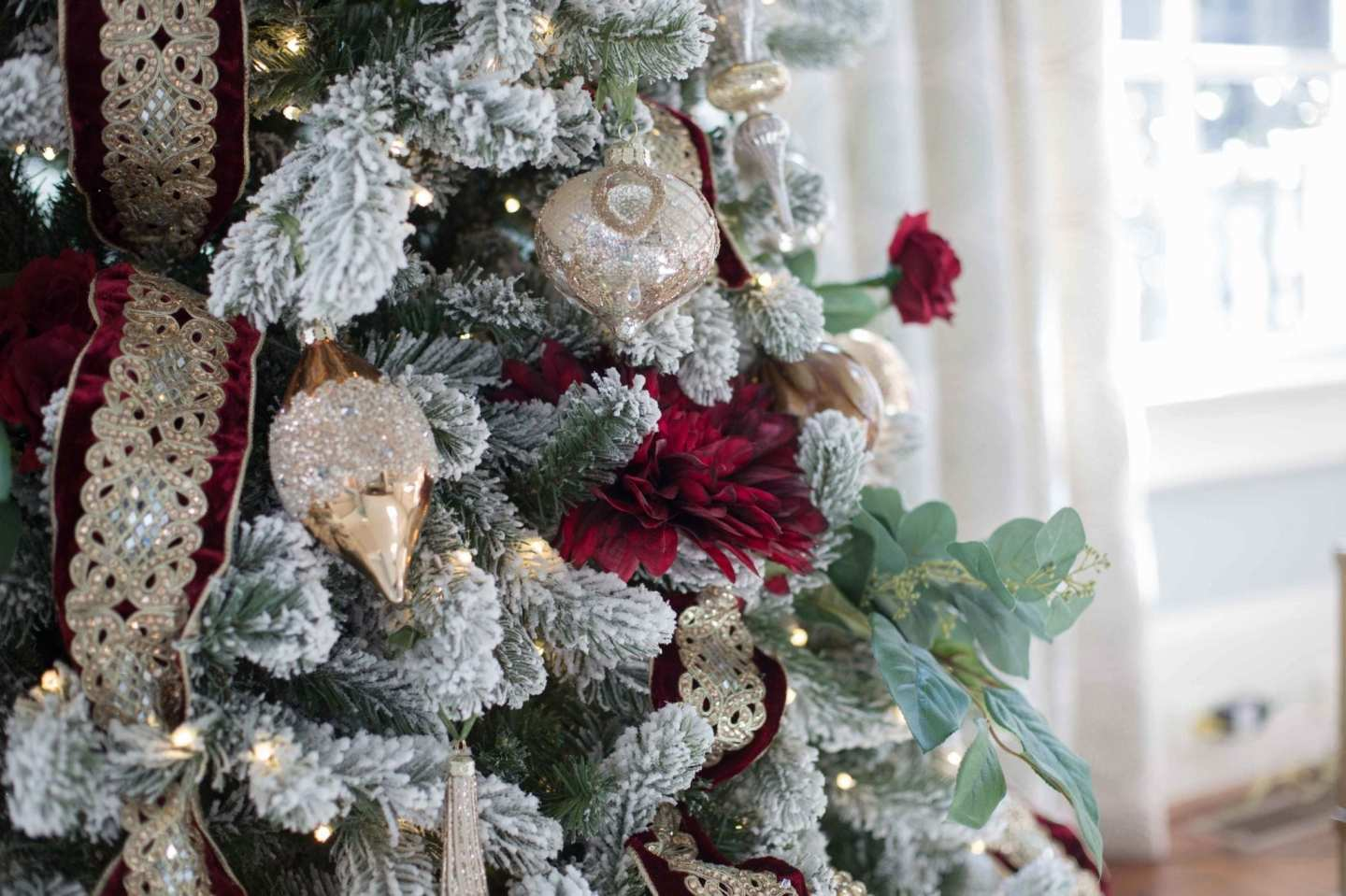 How to decorate Flocked Christmas Trees.