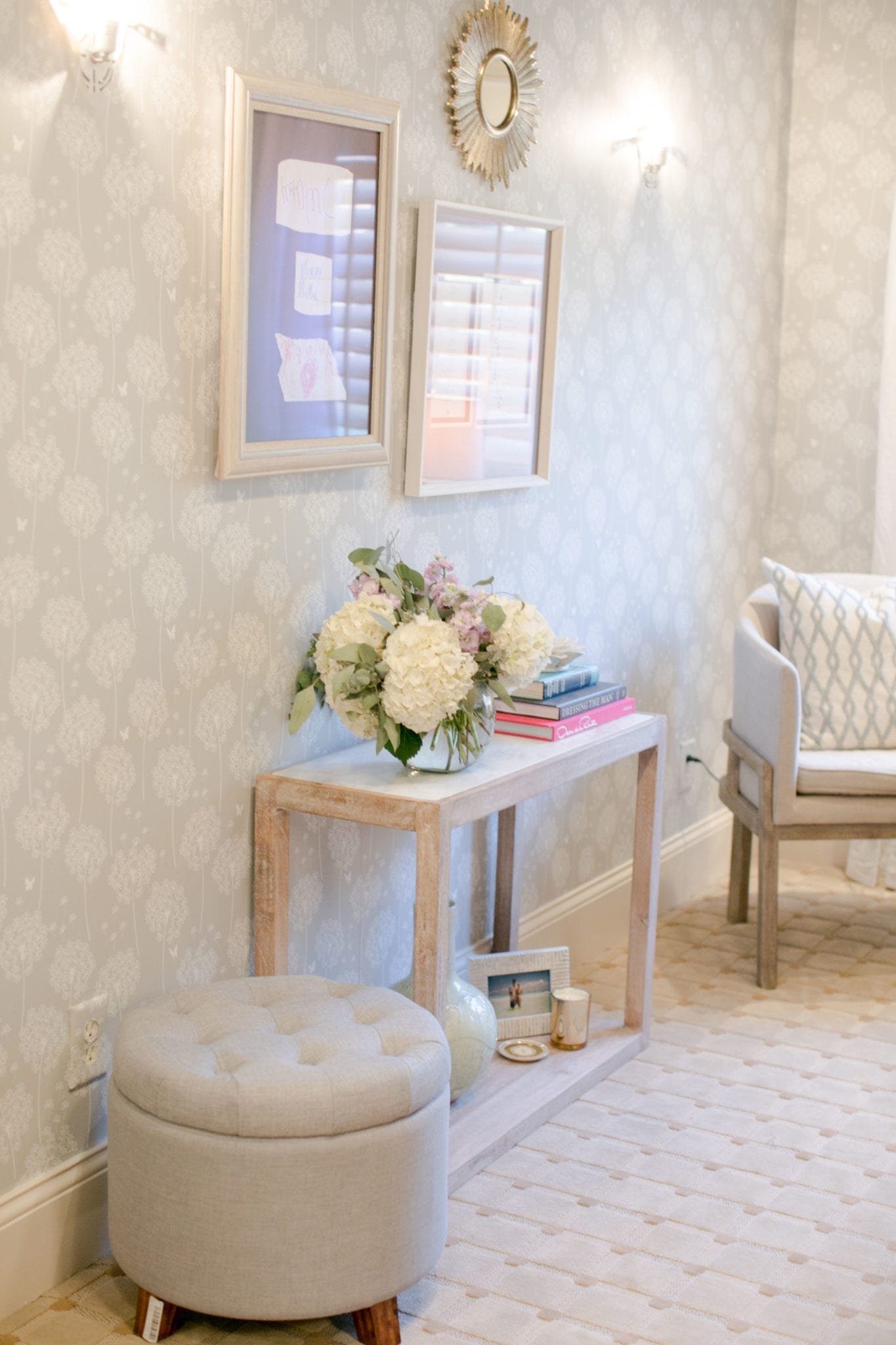 Removable Wallpaper in upstairs office with gray and white marble decor.