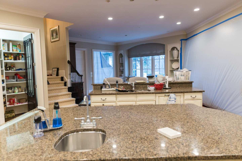 Brown granite counter top kitchen remodel.