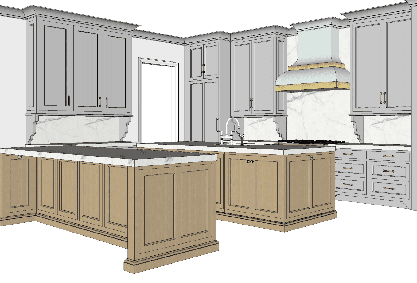 Kingdom Woodworks drawing for kitchen remodel with island seating on both sides and opening into scullery kitchen.
