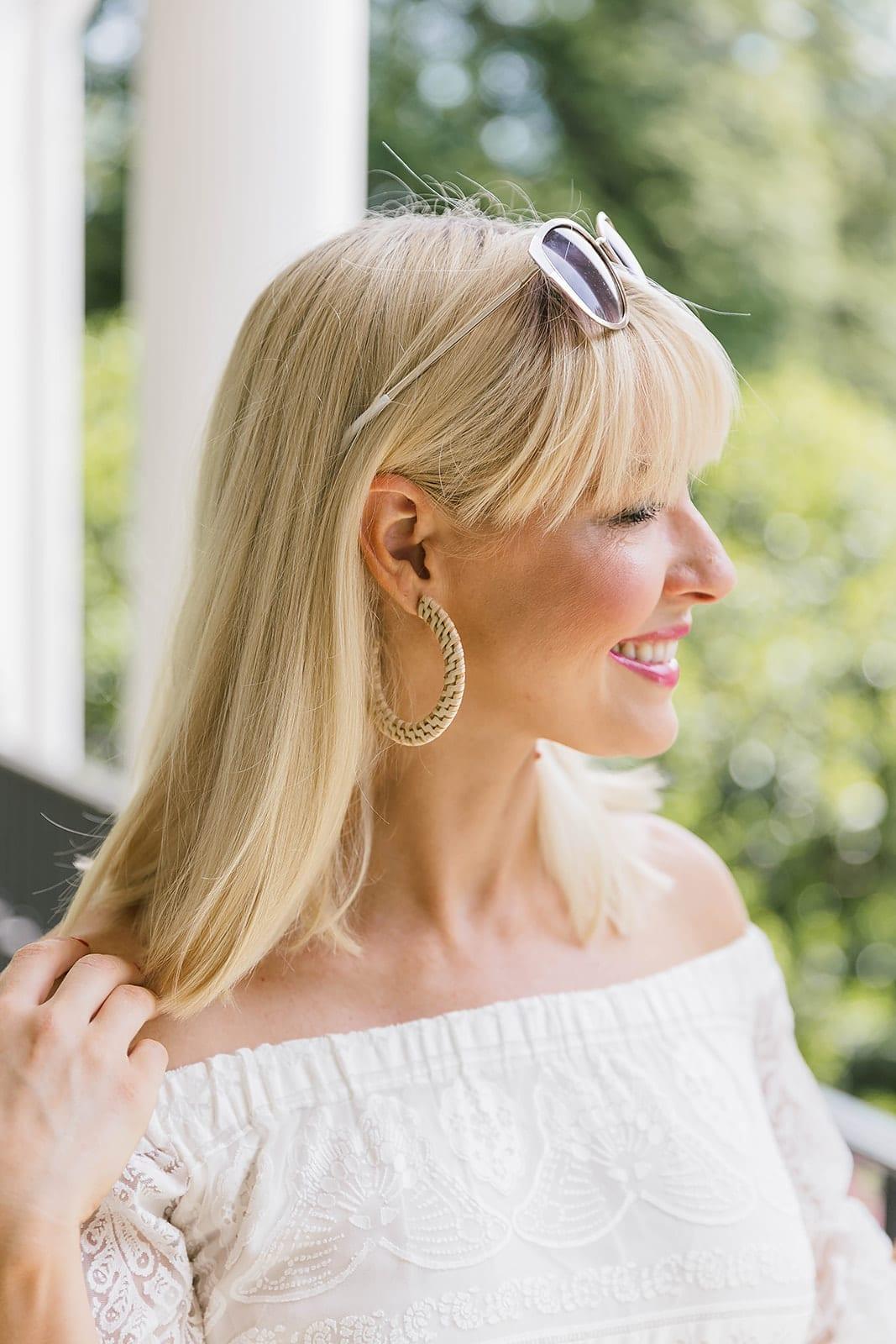 Wicker hoop earrings from Anthropologie. Summer lightweight earrings on sale.