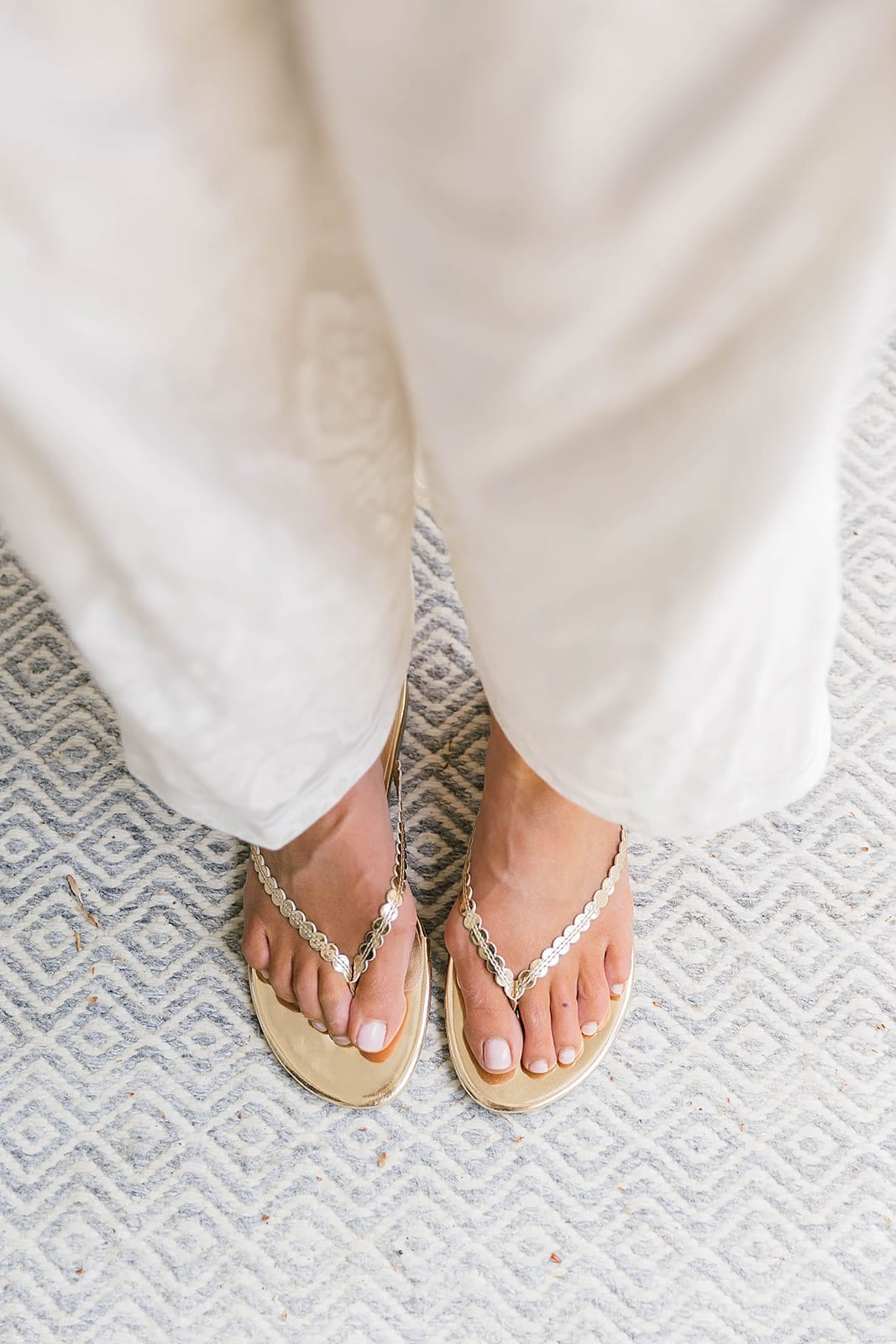 Gold Sandals on Sale from Banana Republic. What shoes to wear with all white.