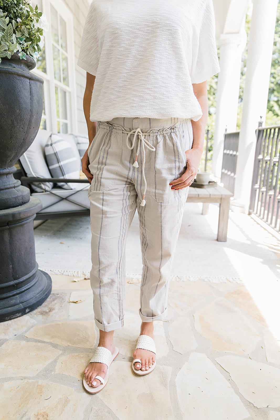 Anthropologie pants - cropped striped pants that are easy to wear and comfortable for summer days.
