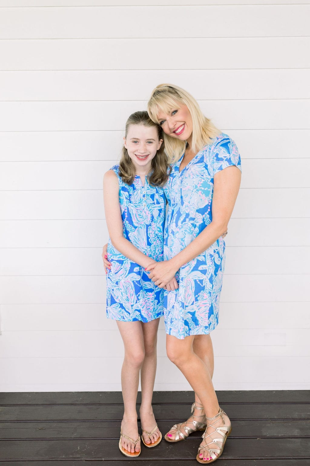Lilly Pulitzer mommy and me dresses. Blue Lilly Pulitzer Mini Essie dress for 12 year old girl and t shirt Lilly dress for women.