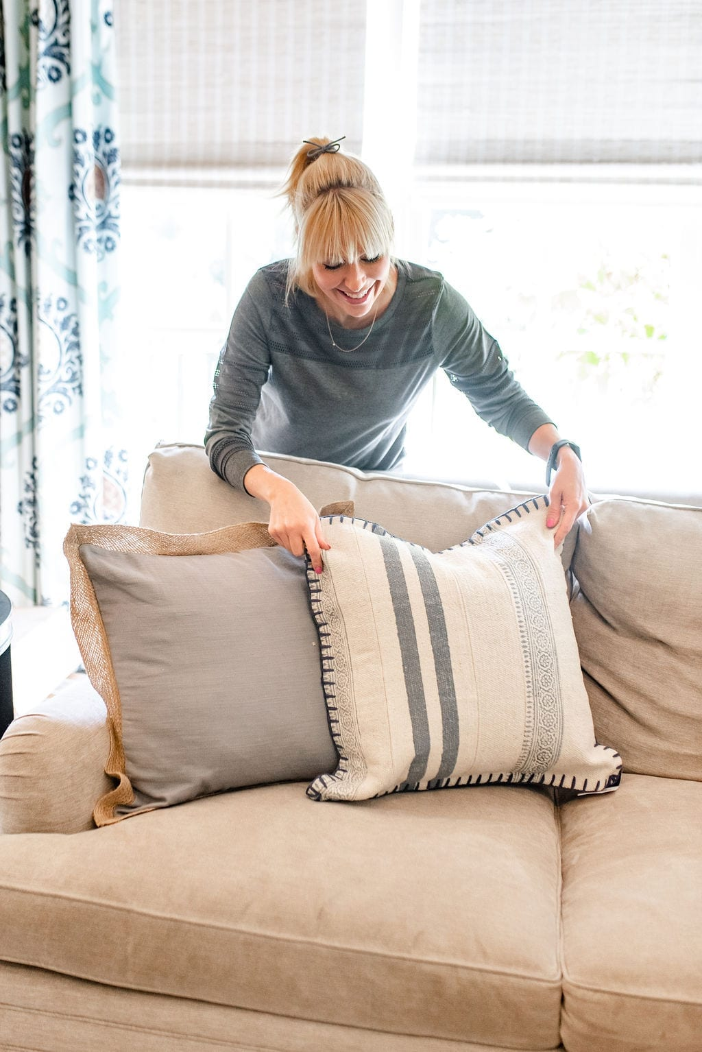 BlueGrayGal Home Blogger with Wayfair throw pillows on sale. Blue and ivory stripe throw pillows.
