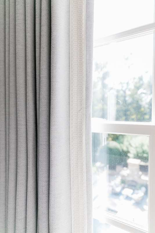 Custom lavender Calico drapery for guest bedroom.