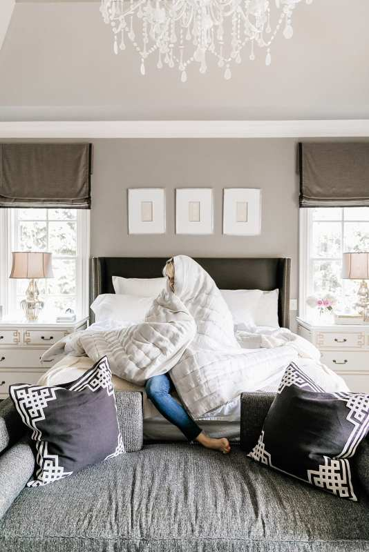 Pine Cone Hill Quilt. Natural quilt that's soft. Benjamin Moore gray wall paint in master bedroom. Master bedroom decor in blue and gray.