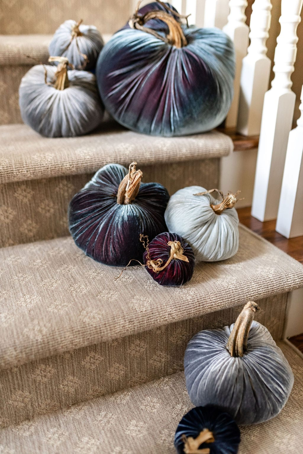 Blue and Gray velvet pumpkins with real stems. Handmade fall decorations for Thanksgiving.