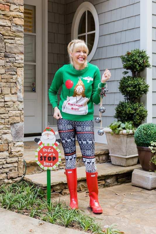 Christmas Gym Pants, rain boots on sale, Amazon Christmas Sweater and Santa Stop Here Outdoor Christmas sign.