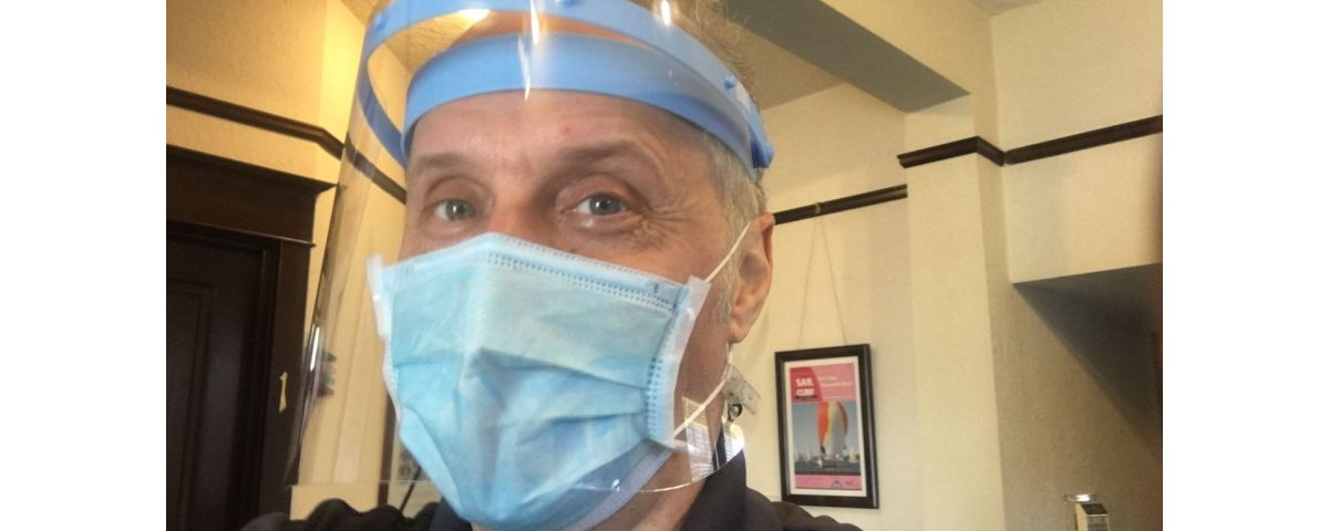 Pic of Doctor Dana in his Face Shield and Mask