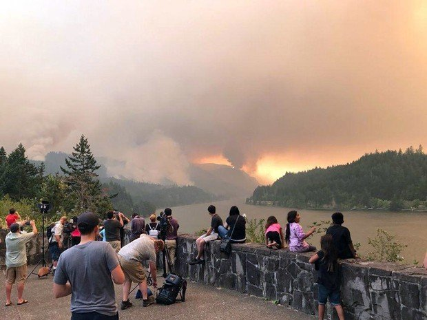 The U.S. Coast Guard closed the Columbia River on Tuesday evening through the night to all marine traffic for 20 miles. The agency decided the falling hot ash and firefighting aircraft landings made conditions unsafe on the river between Reed Island just before Corbett and Bonneville Dam to the east.