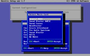 A typical DOS game setup screen
