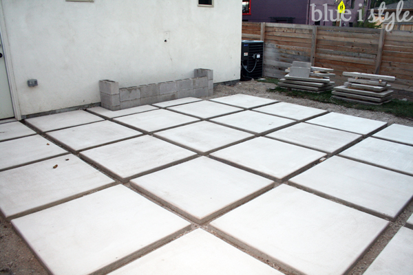 modern patio construction with square