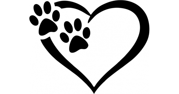 Download Two Dog Paws Inisde The Heart Cuttable SVG and Printable ...
