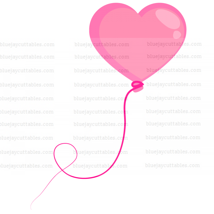 Download Pink Heart Shaped Balloon Cuttable SVG and Printable PNG File