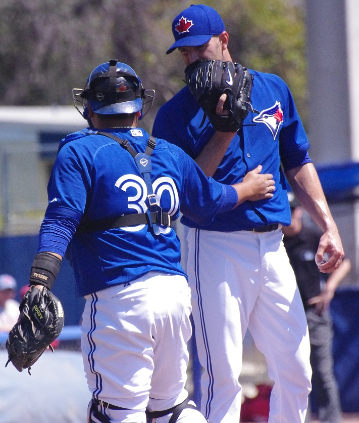 Dioner Navarro and J.A. Happ