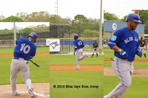 A composite of shots from Edwin Encarnacion's home run at minor league camp