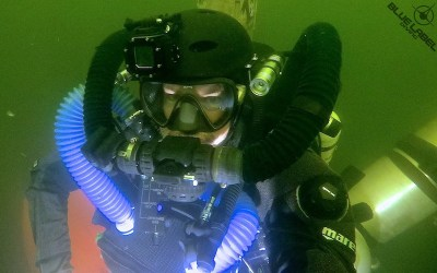 diver on a rebreather in a cave