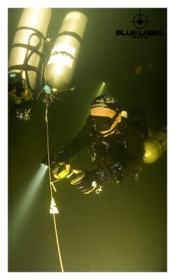 Sidemount training in a cave