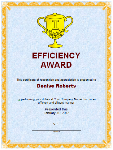 Efficiency Award Template