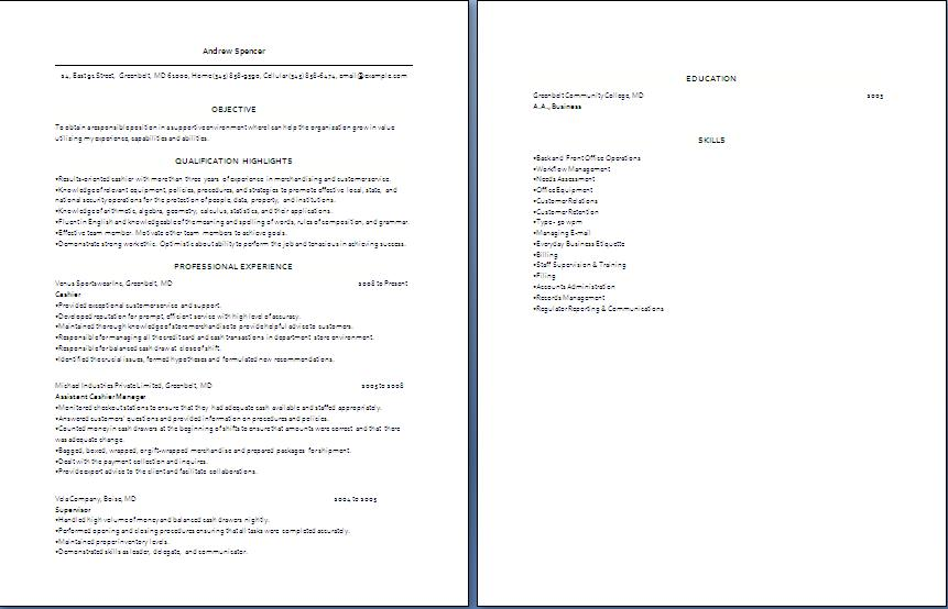 Cashier Job Resume Examples. Cashier Resume Job Resume Format