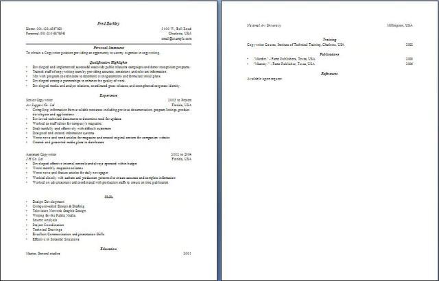 copywriter resume free layout format