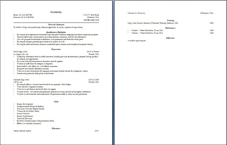 Blue Layouts  Copywriter Resume