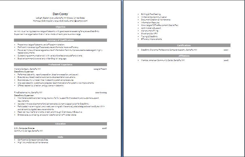 data entry resume samples visualcv resume samples database. data ...