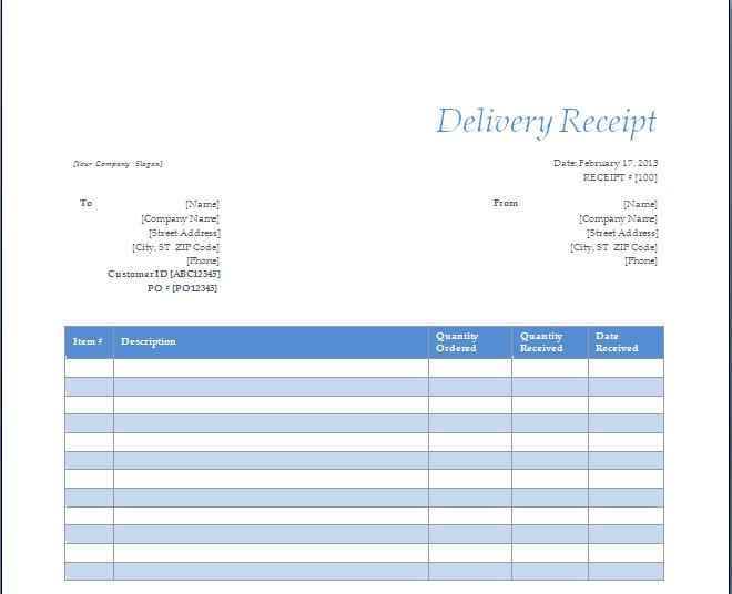 Delivery Receipt Template  Delivery Slip Template