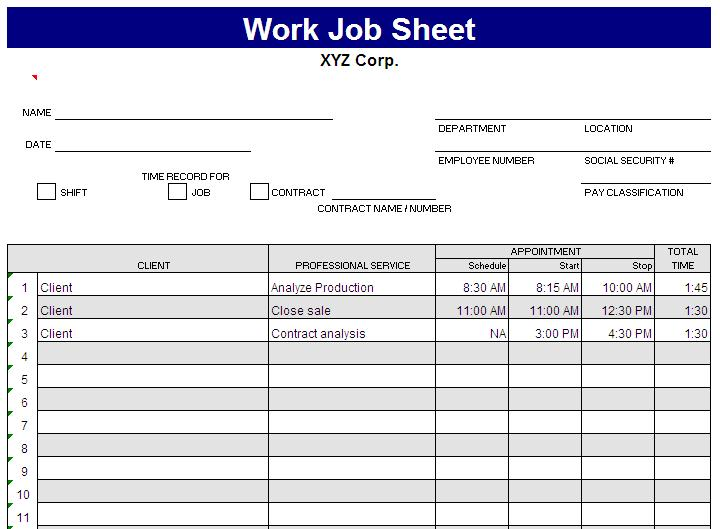 Job Sheet Template  Free Layout  Format