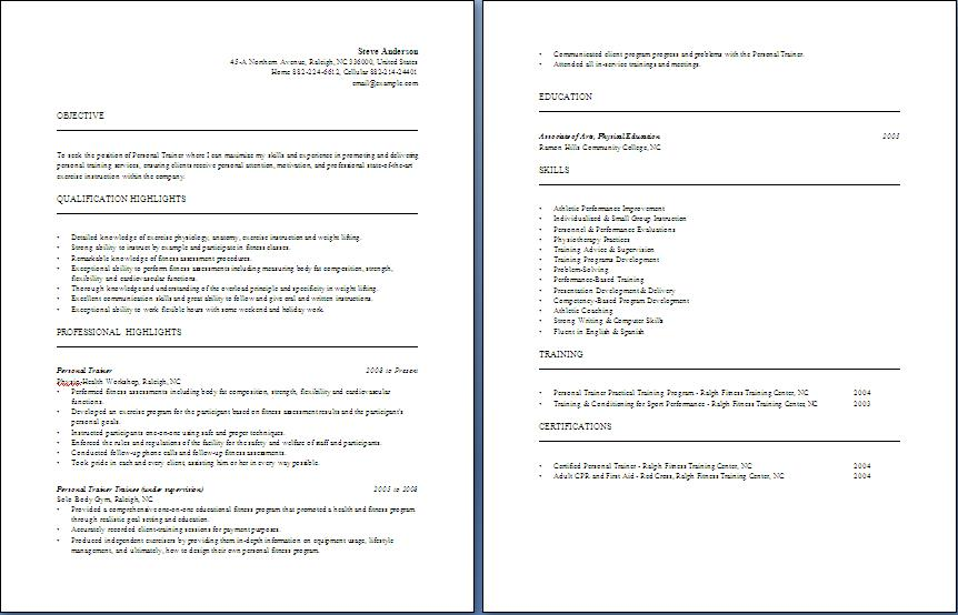 personal trainer resume free layout amp format