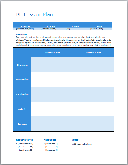 here is preview of this physical education lesson plan template