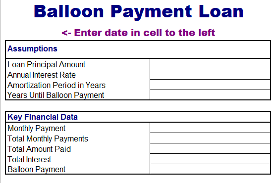 Balloon Loan Payment Template  Monthly Payment Template
