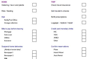 Sample Vacation Checklist