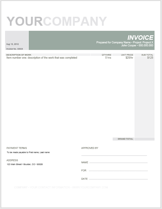 Product Invoice Template 03