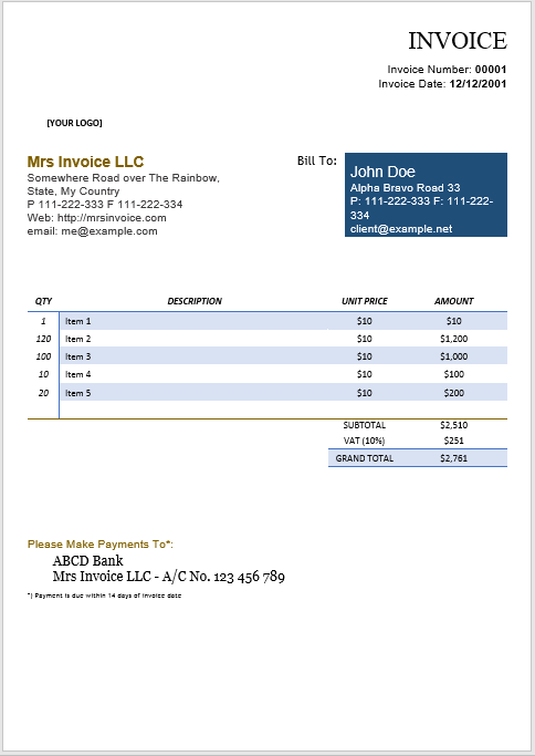 Product Invoice Template 04