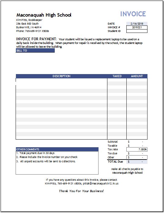 Product Invoice Template 07