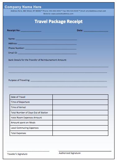 printable receipt template