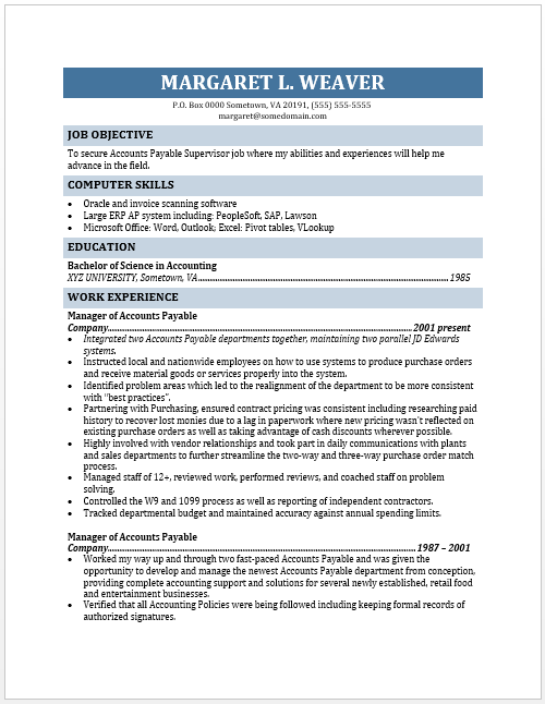 here is preview of a free printable accounts payable supervisor resume
