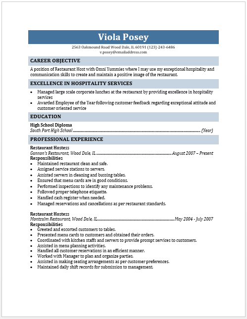 Restaurant Host Resume. Host Resume Examples To Stand Out Hostess