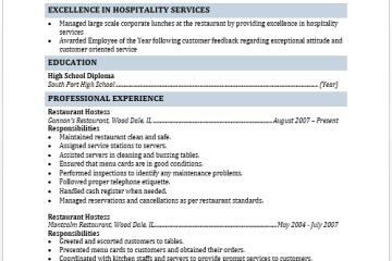 Restaurant Hostest Resume