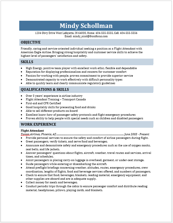 flight attendant resume while joining an airline