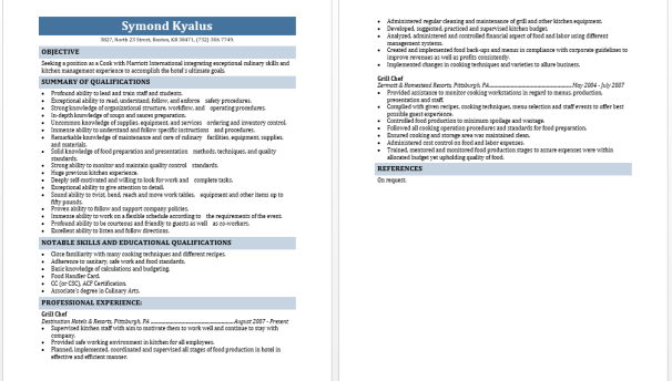 Grill Cook Resume