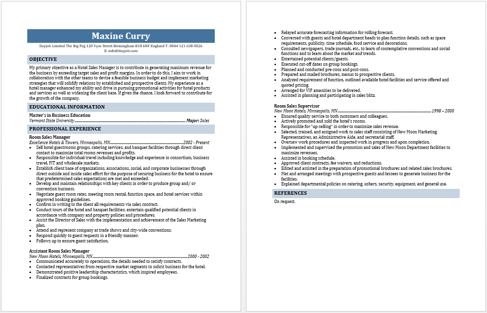 Blue Layouts  Hotel Sales Manager Resume