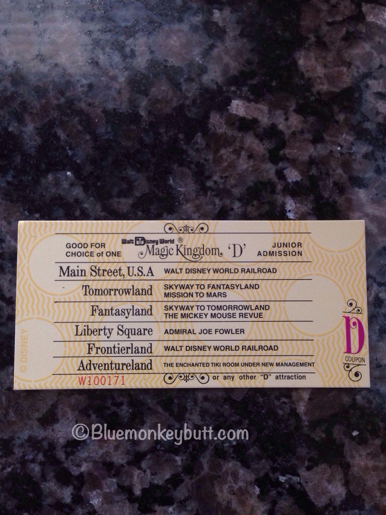 Magnet Replica of the D Ticket for the Magic Kingdom