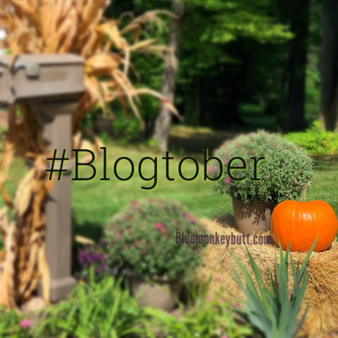 Fall scene, pumpkin on a bale of straw with pots of mums and a cornstalk on a mailbox