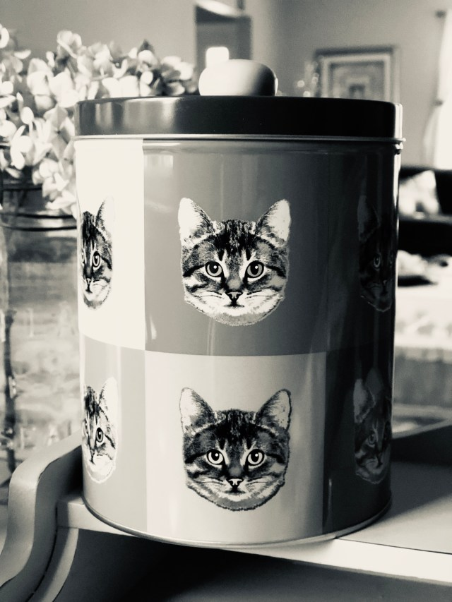 Tin with  a cat design